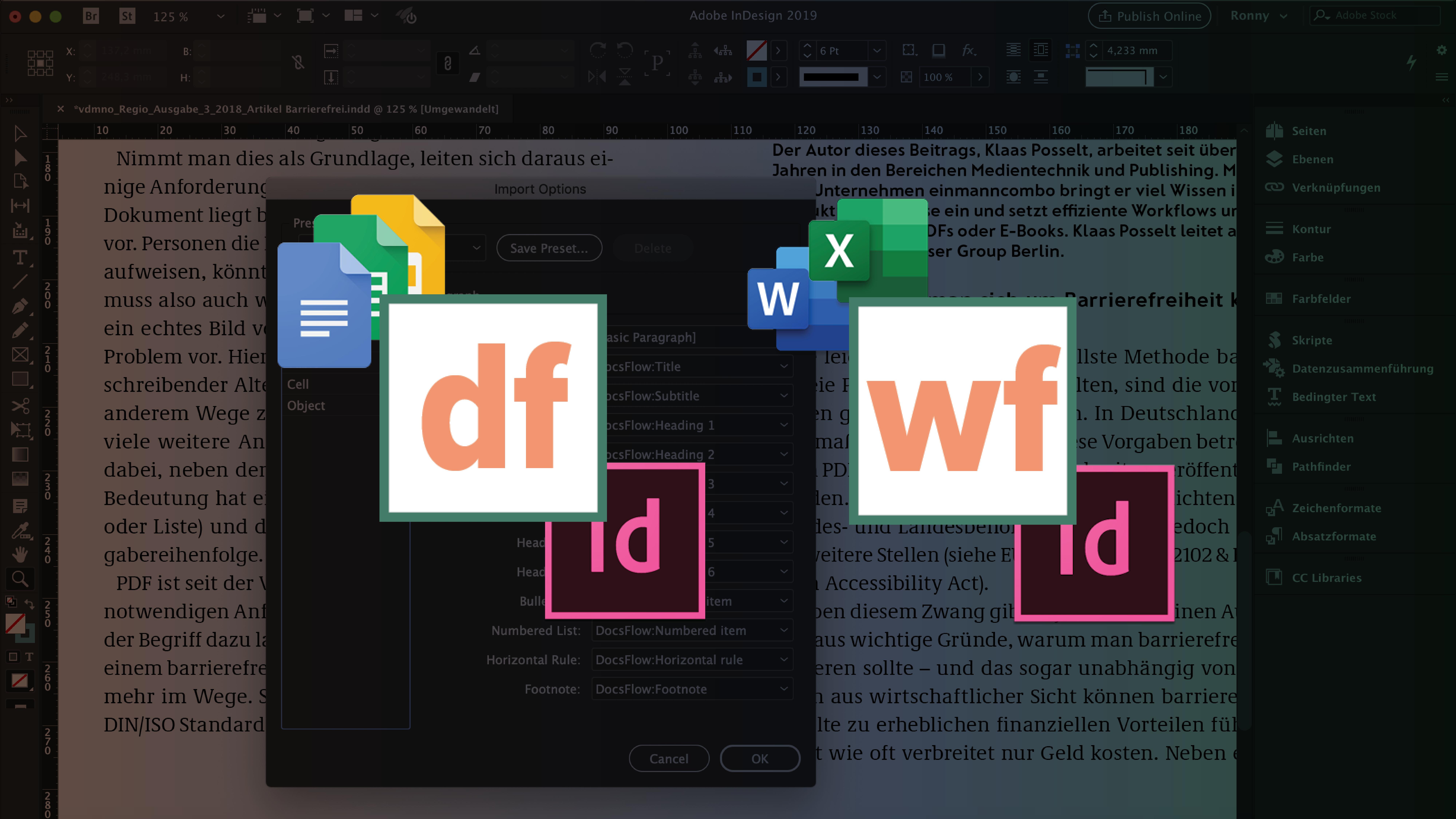 Die Software-Icons von DocsFlow und WordsFlow nebeneinander vor einem halb transparenten Hintergrund mit einem geöffneten InDesign-Dokument